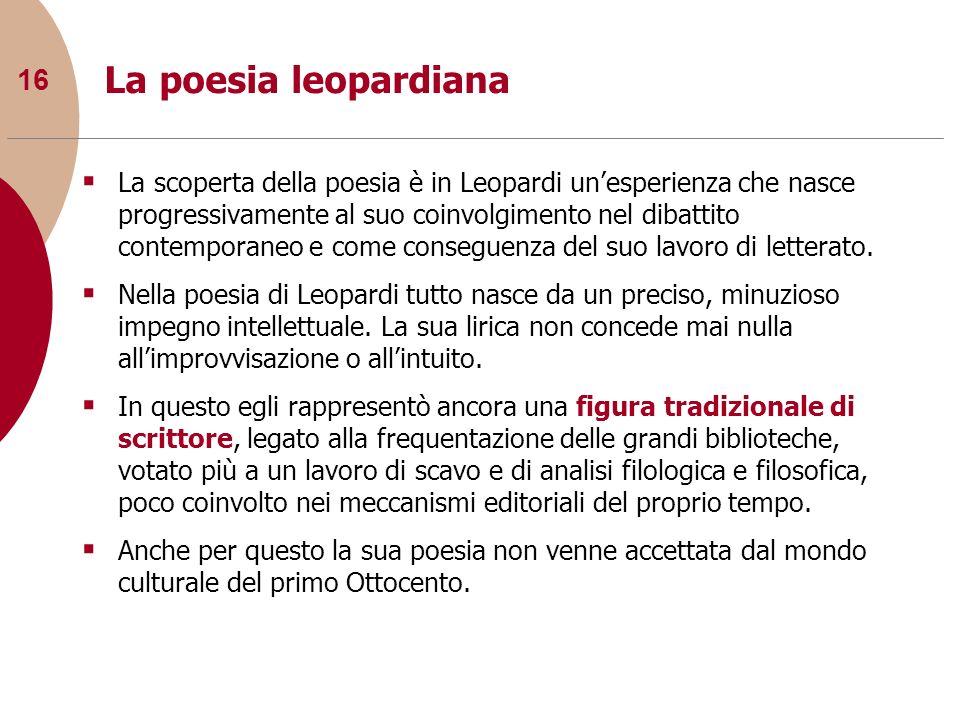 16 La poesia leopardiana La scoperta della poesia è in Leopardi unesperienza che nasce progressivamente al suo coinvolgimento nel dibattito contempora