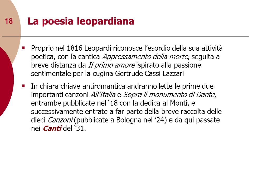 18 La poesia leopardiana Proprio nel 1816 Leopardi riconosce lesordio della sua attività poetica, con la cantica Appressamento della morte, seguita a
