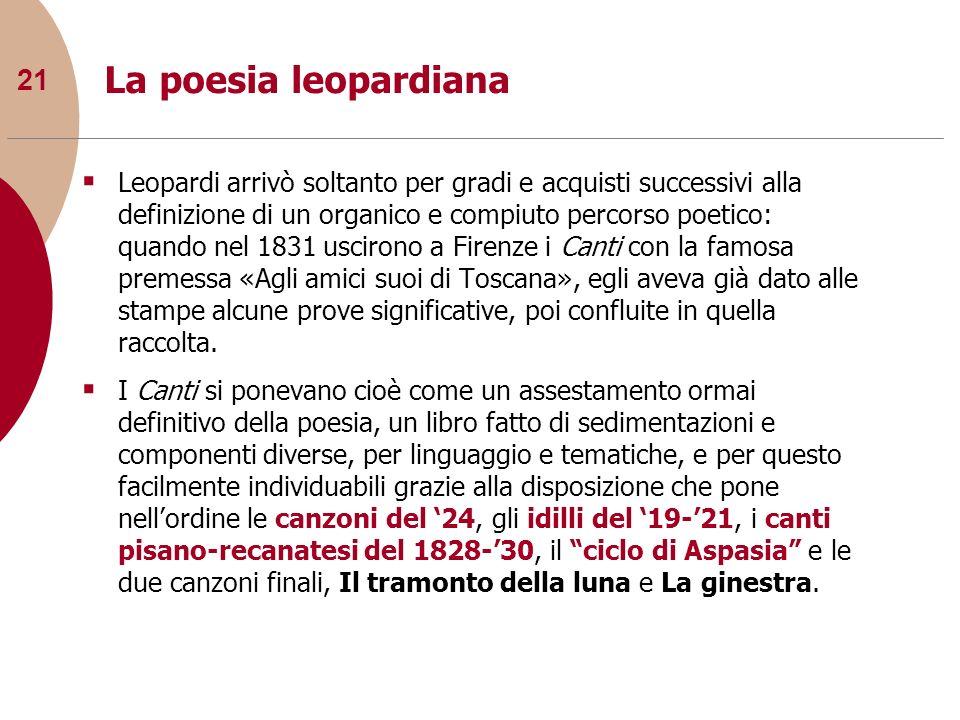 21 La poesia leopardiana Leopardi arrivò soltanto per gradi e acquisti successivi alla definizione di un organico e compiuto percorso poetico: quando