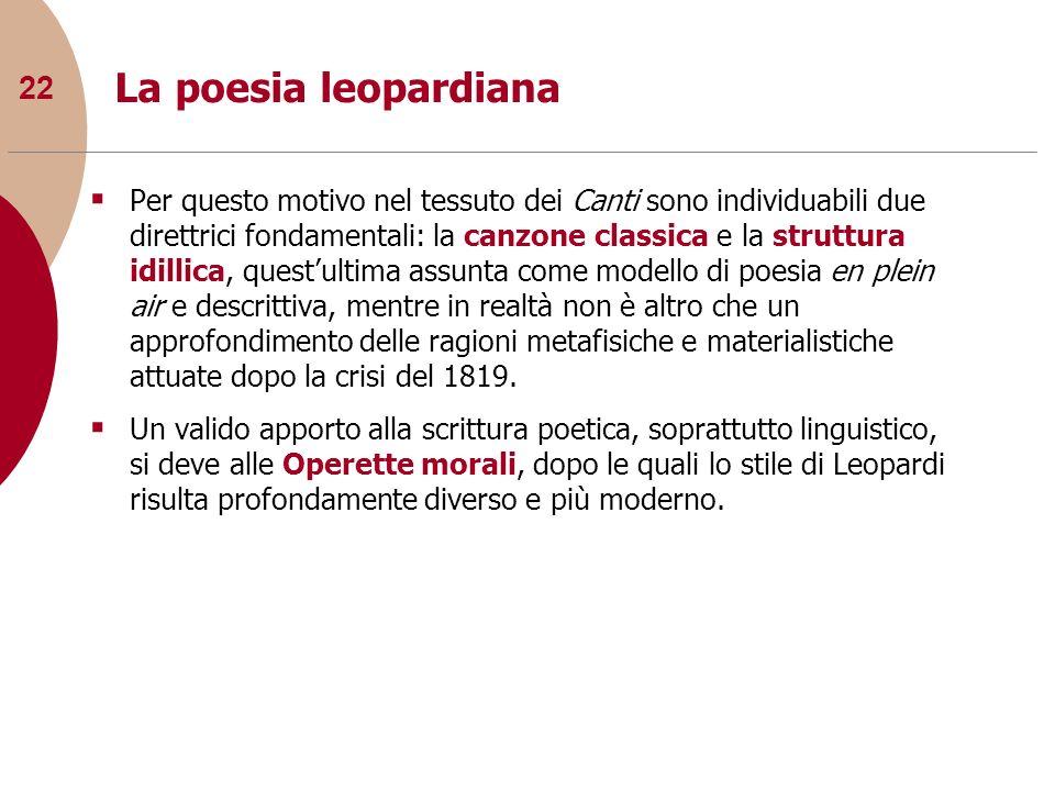 22 La poesia leopardiana Per questo motivo nel tessuto dei Canti sono individuabili due direttrici fondamentali: la canzone classica e la struttura id