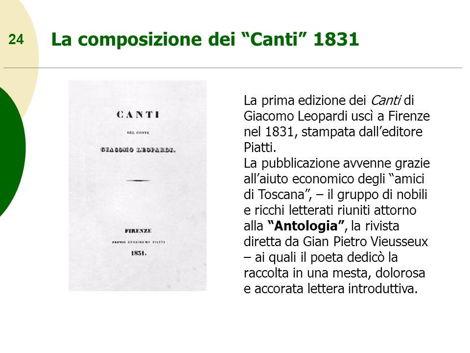 24 La composizione dei Canti 1831 La prima edizione dei Canti di Giacomo Leopardi uscì a Firenze nel 1831, stampata dalleditore Piatti. La pubblicazio