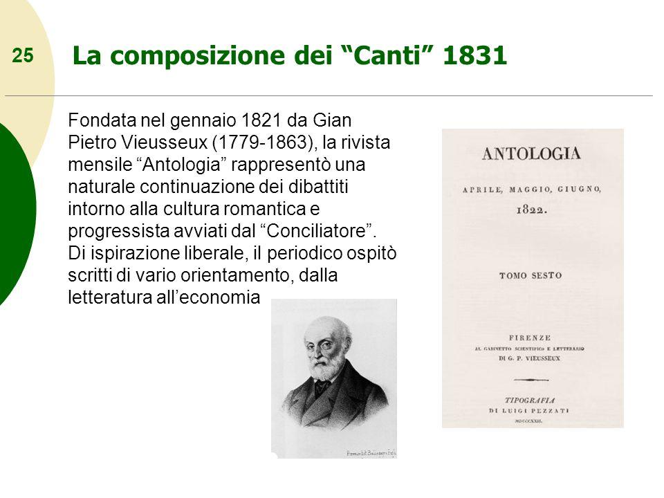 25 La composizione dei Canti 1831 Fondata nel gennaio 1821 da Gian Pietro Vieusseux (1779-1863), la rivista mensile Antologia rappresentò una naturale