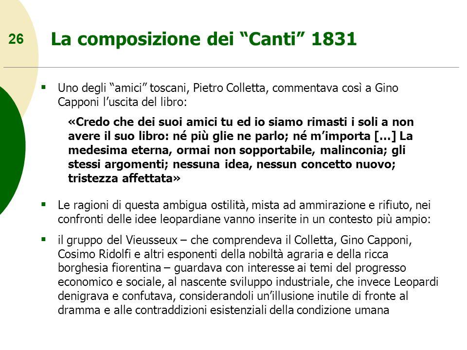 26 La composizione dei Canti 1831 Uno degli amici toscani, Pietro Colletta, commentava così a Gino Capponi luscita del libro: «Credo che dei suoi amic