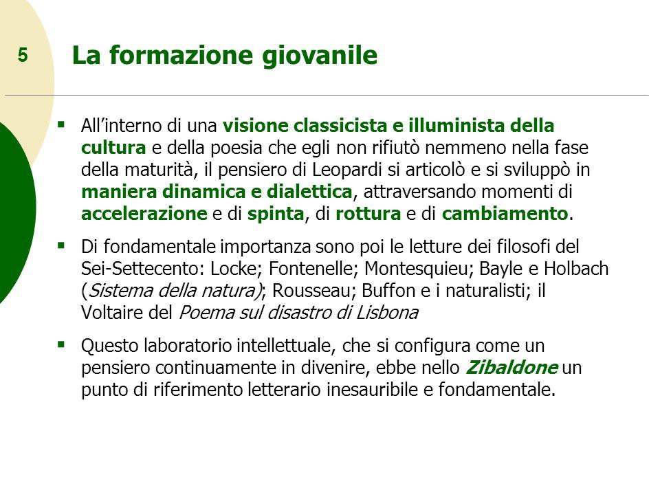6 Cronologia della vita e delle opere 1817: Inizio dello Zibaldone.