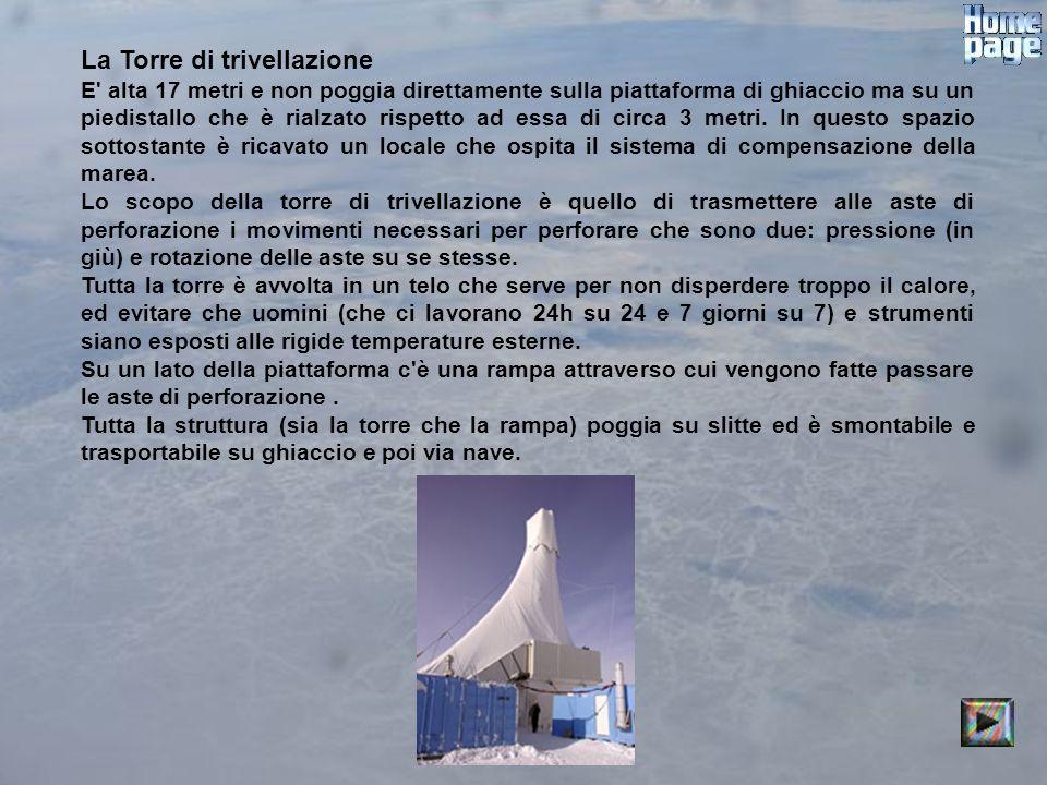 La Torre di trivellazione E' alta 17 metri e non poggia direttamente sulla piattaforma di ghiaccio ma su un piedistallo che è rialzato rispetto ad ess