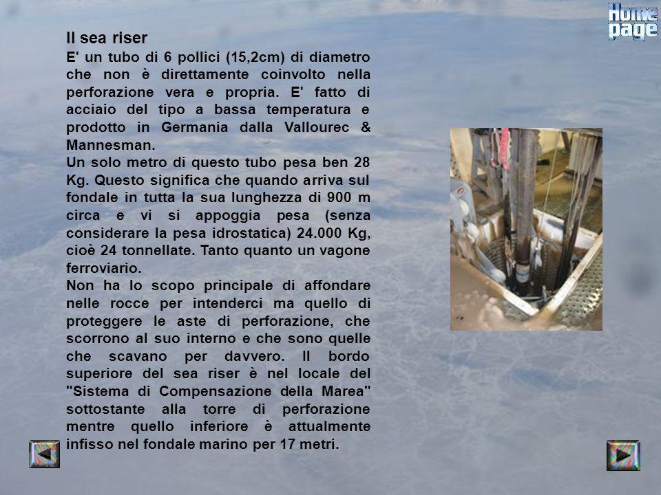 Il sea riser E' un tubo di 6 pollici (15,2cm) di diametro che non è direttamente coinvolto nella perforazione vera e propria. E' fatto di acciaio del