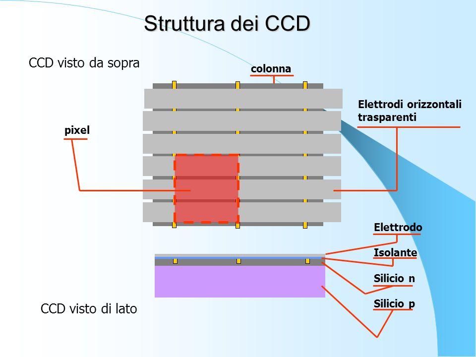 pixel Elettrodi orizzontali trasparenti CCD visto da sopra CCD visto di lato Elettrodo Isolante Silicio n Silicio p Struttura dei CCD colonna
