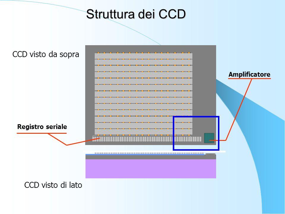 Amplificatore Registro seriale CCD visto da sopra CCD visto di lato Struttura dei CCD