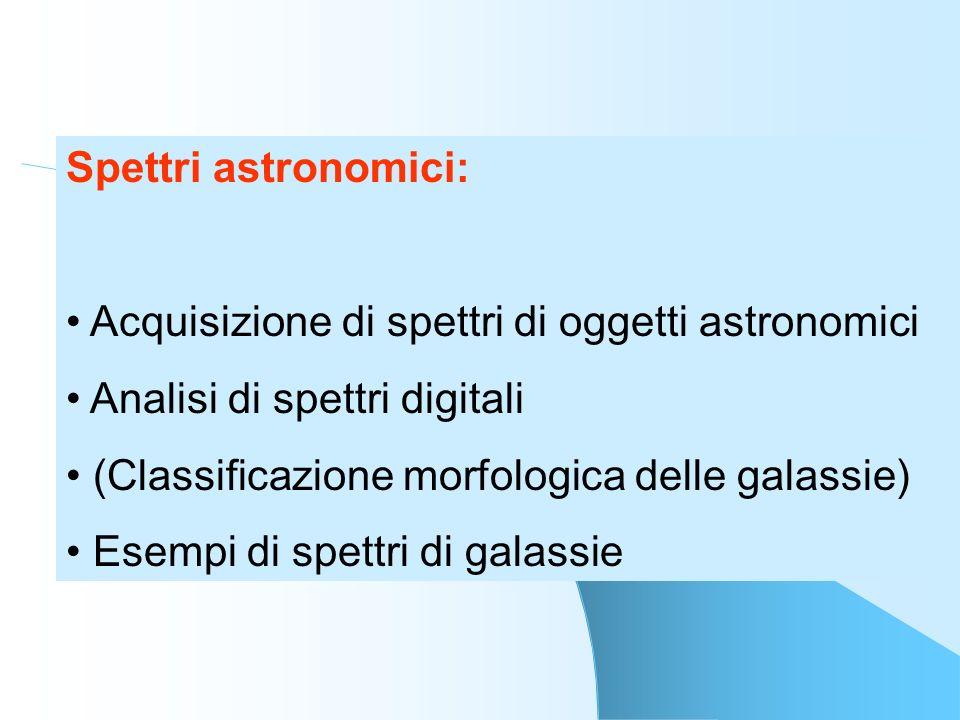 Spettri astronomici: Acquisizione di spettri di oggetti astronomici Analisi di spettri digitali (Classificazione morfologica delle galassie) Esempi di
