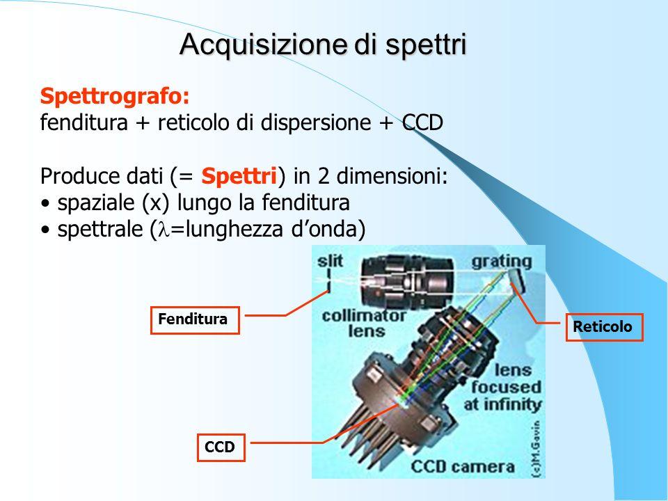 Spettrografo: fenditura + reticolo di dispersione + CCD Produce dati (= Spettri) in 2 dimensioni: spaziale (x) lungo la fenditura spettrale ( =lunghez