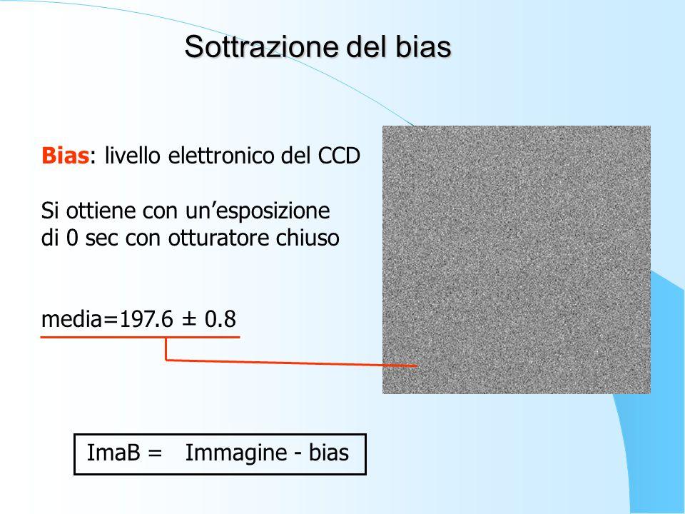 Sottrazione del bias Bias: livello elettronico del CCD Si ottiene con unesposizione di 0 sec con otturatore chiuso media=197.6 ± 0.8 ImaB = Immagine -