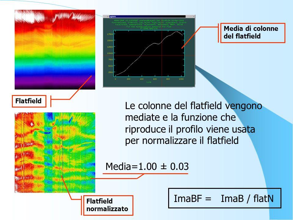 Media=1.00 ± 0.03 Flatfield normalizzato Media di colonne del flatfield ImaBF = ImaB / flatN Le colonne del flatfield vengono mediate e la funzione ch