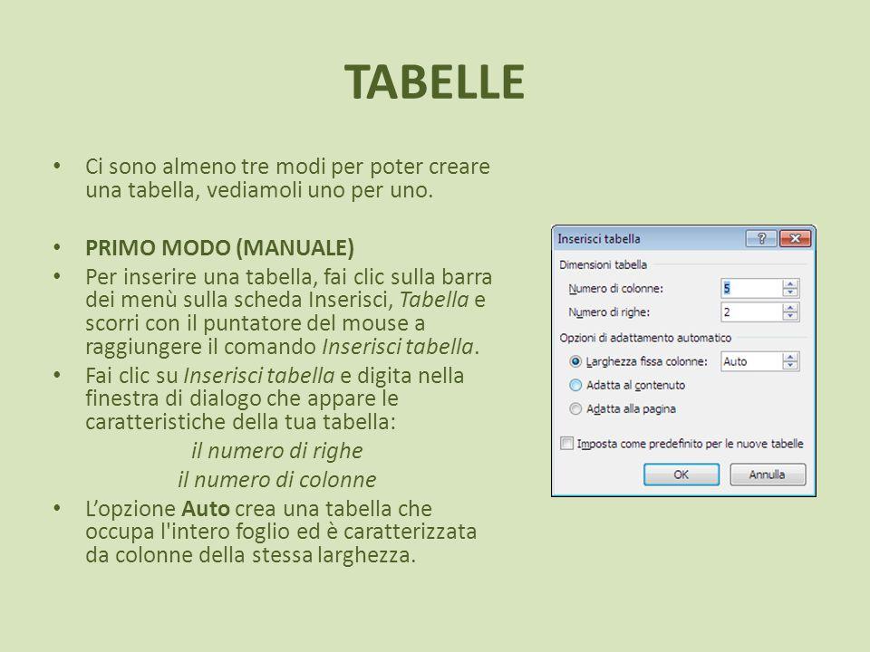 TABELLE Ci sono almeno tre modi per poter creare una tabella, vediamoli uno per uno. PRIMO MODO (MANUALE) Per inserire una tabella, fai clic sulla bar