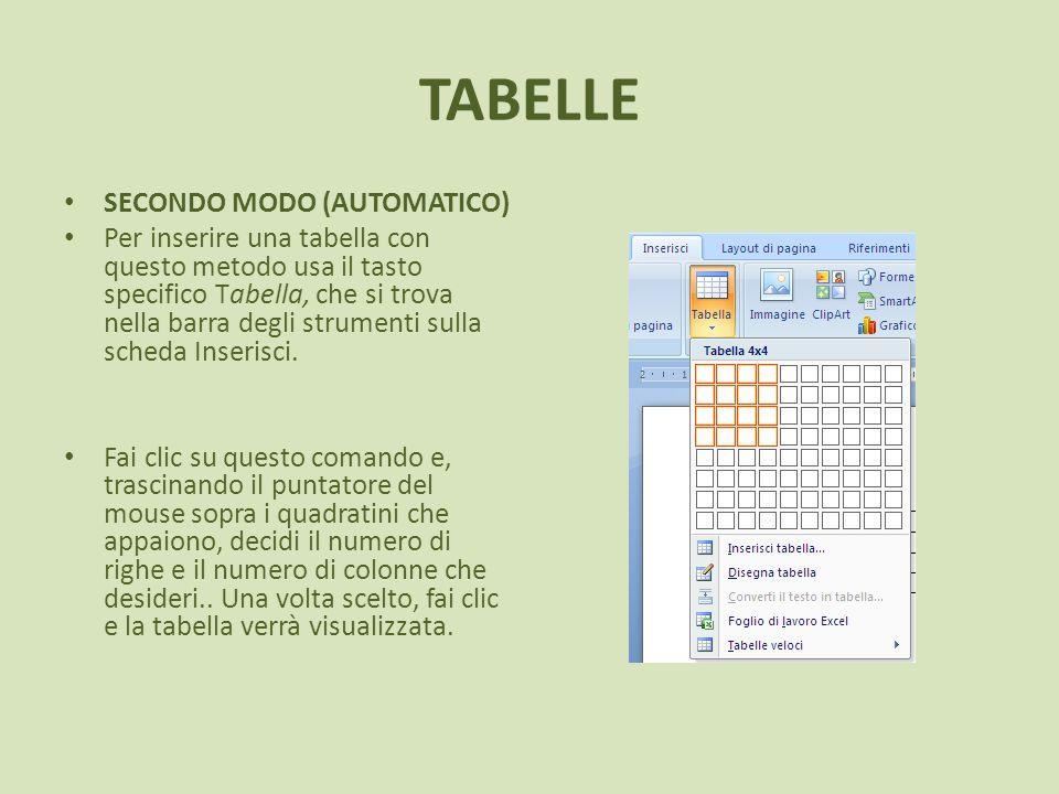 TABELLE SECONDO MODO (AUTOMATICO) Per inserire una tabella con questo metodo usa il tasto specifico Tabella, che si trova nella barra degli strumenti