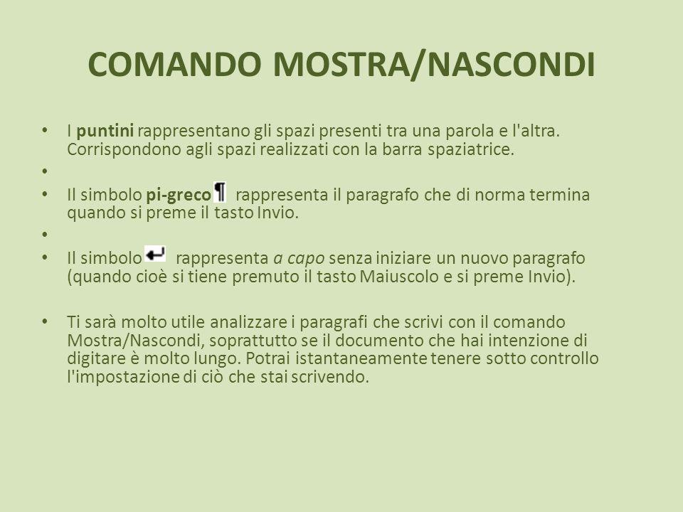 COMANDO MOSTRA/NASCONDI I puntini rappresentano gli spazi presenti tra una parola e l'altra. Corrispondono agli spazi realizzati con la barra spaziatr