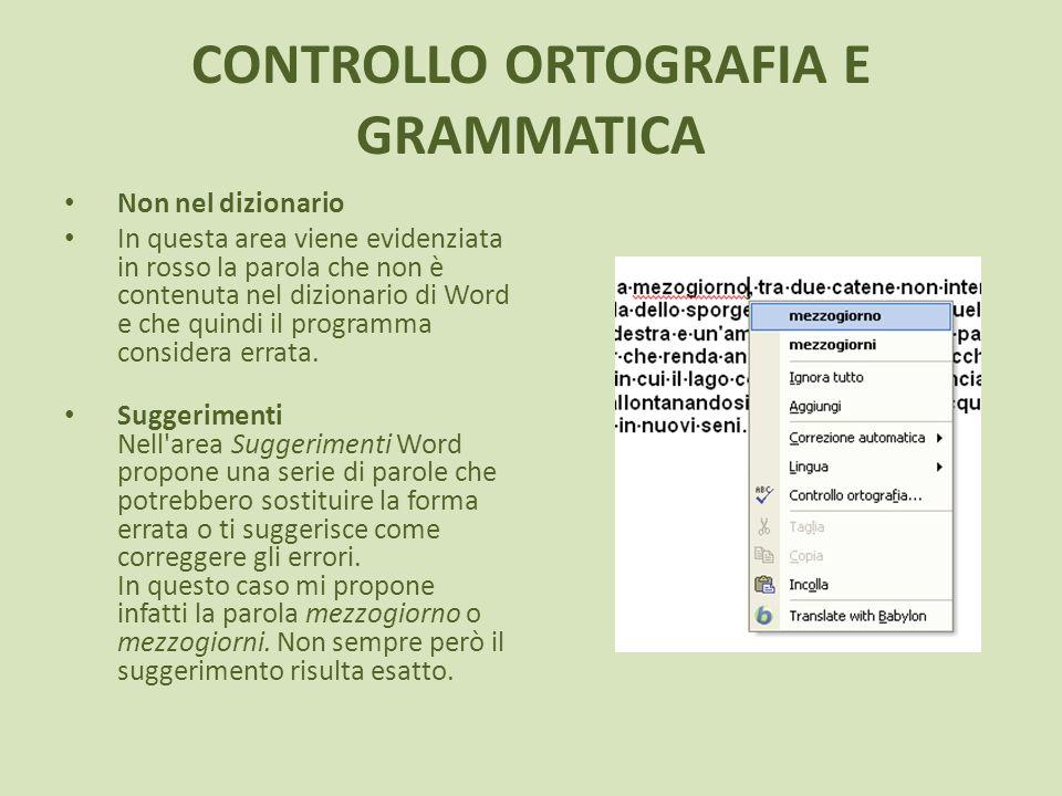 CONTROLLO ORTOGRAFIA E GRAMMATICA Non nel dizionario In questa area viene evidenziata in rosso la parola che non è contenuta nel dizionario di Word e