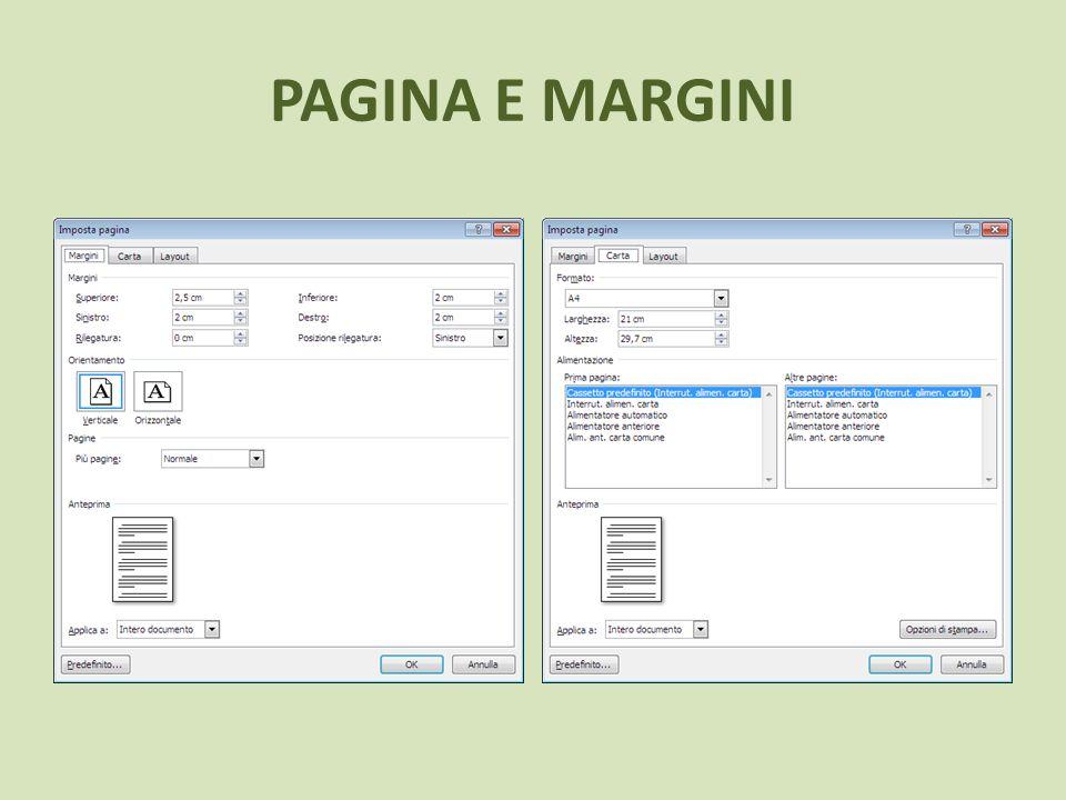 Stabilite le dimensioni del foglio si può passare alla scheda Margini.