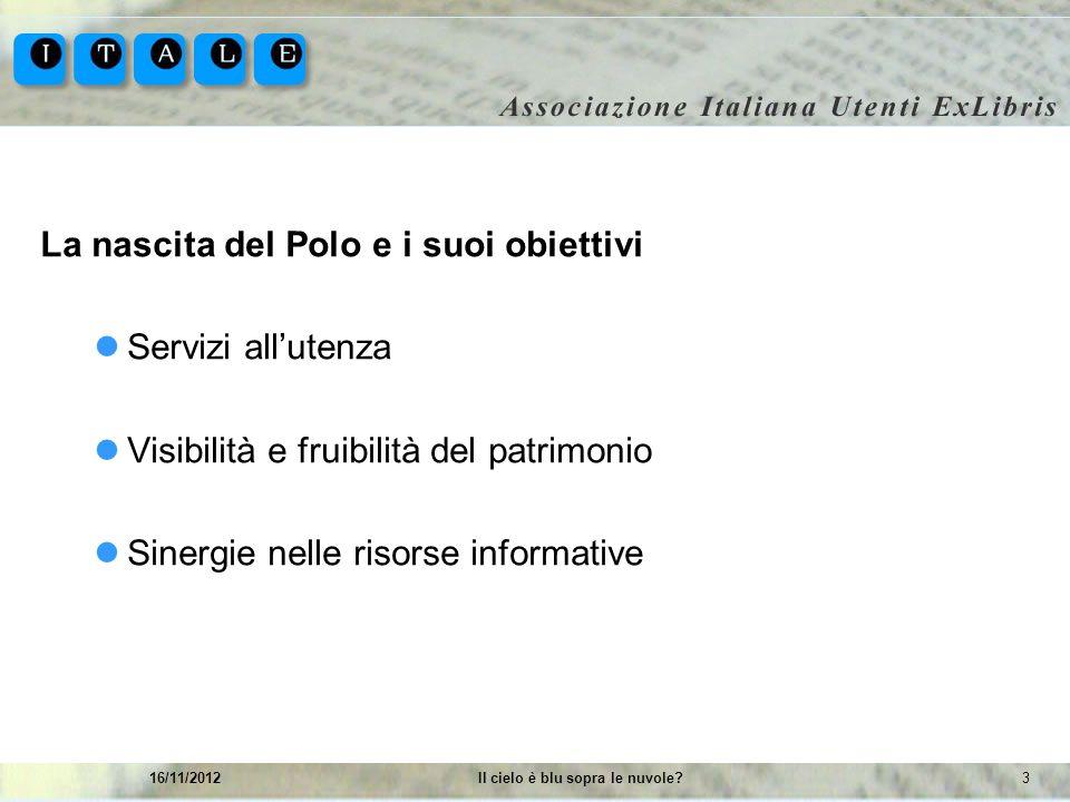 316/11/2012Il cielo è blu sopra le nuvole? La nascita del Polo e i suoi obiettivi Servizi allutenza Visibilità e fruibilità del patrimonio Sinergie ne