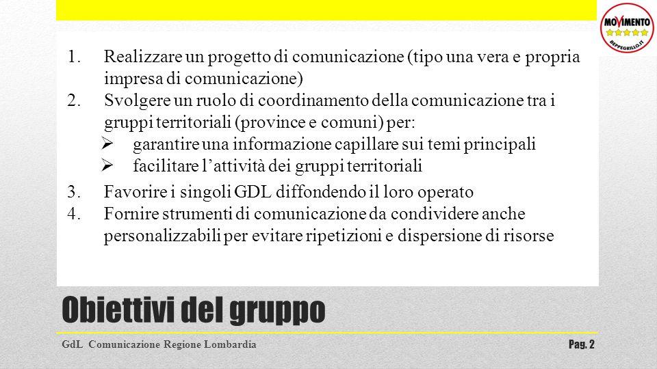 Obiettivi del gruppo GdL Comunicazione Regione LombardiaPag. 2 1.Realizzare un progetto di comunicazione (tipo una vera e propria impresa di comunicaz