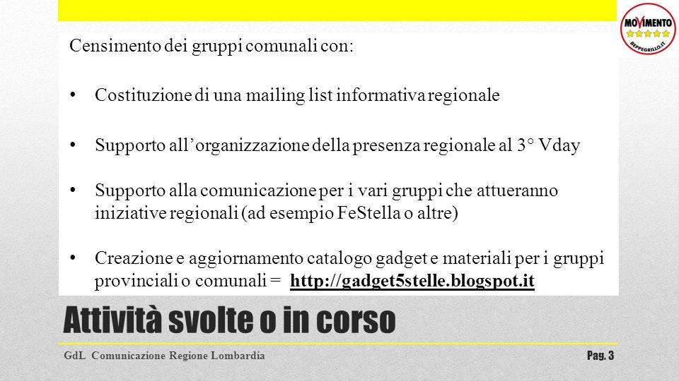 Attività svolte o in corso GdL Comunicazione Regione LombardiaPag. 3 Censimento dei gruppi comunali con: Costituzione di una mailing list informativa