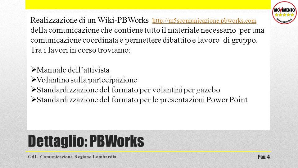 Dettaglio: PBWorks GdL Comunicazione Regione LombardiaPag. 4 Realizzazione di un Wiki-PBWorks http://m5scomunicazione.pbworks.com della comunicazione
