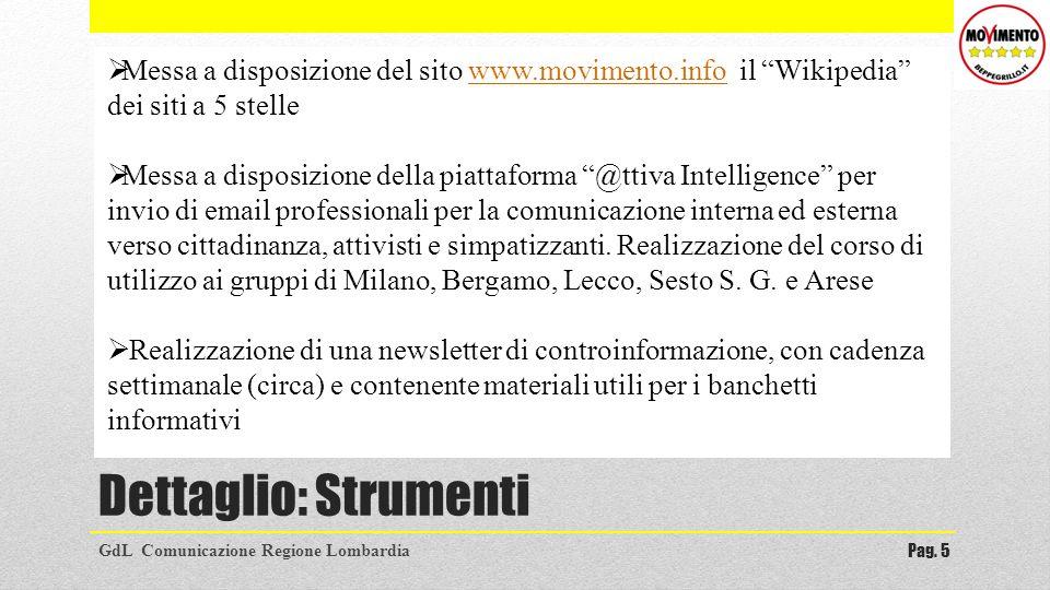 Dettaglio: Strumenti GdL Comunicazione Regione LombardiaPag. 5 Messa a disposizione del sito www.movimento.info il Wikipedia dei siti a 5 stellewww.mo