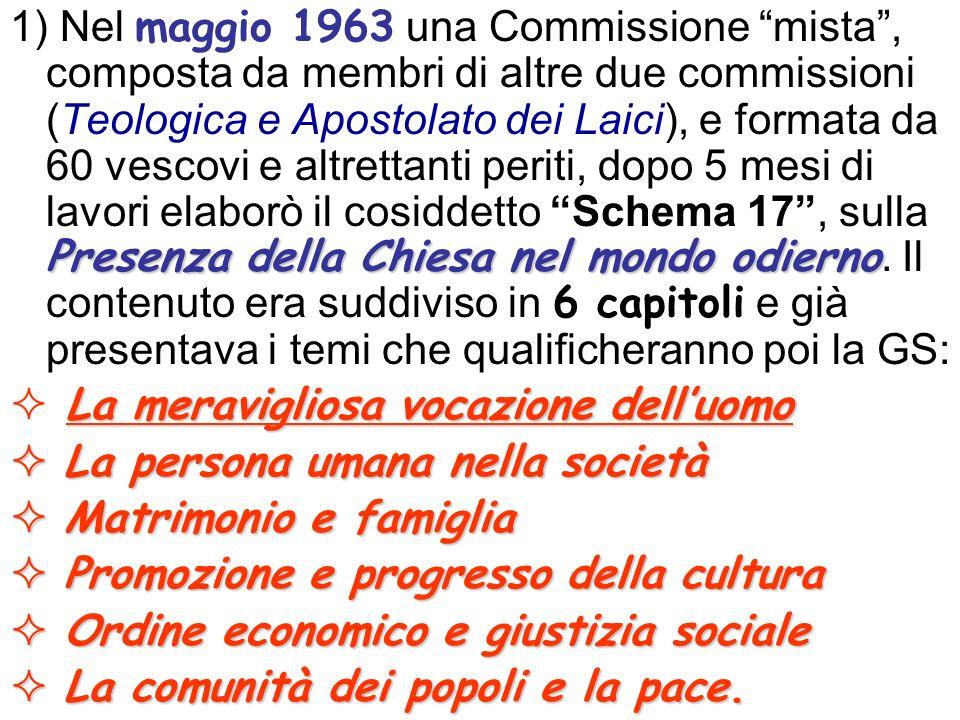 Presenza della Chiesa nel mondo odierno 1) Nel maggio 1963 una Commissione mista, composta da membri di altre due commissioni (Teologica e Apostolato