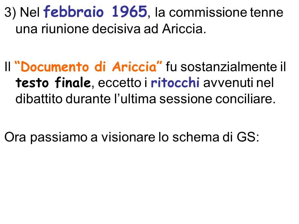 3) Nel febbraio 1965, la commissione tenne una riunione decisiva ad Ariccia. Il Documento di Ariccia fu sostanzialmente il testo finale, eccetto i rit
