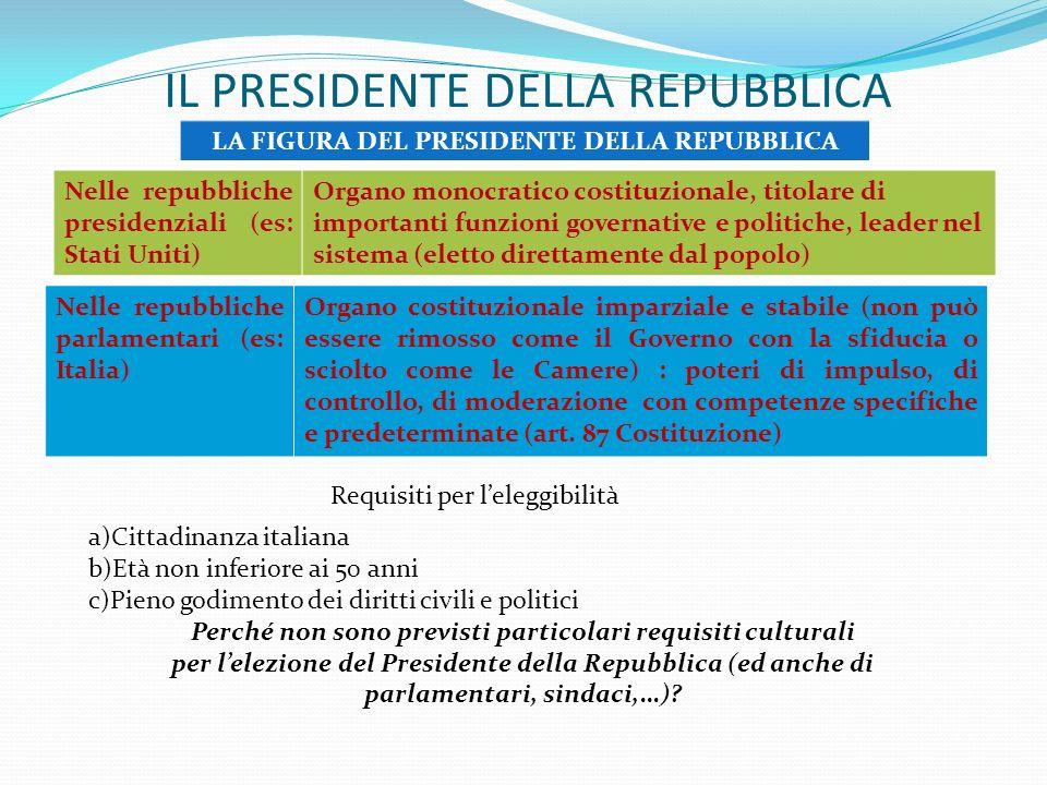 IL PRESIDENTE DELLA REPUBBLICA LA FIGURA DEL PRESIDENTE DELLA REPUBBLICA Nelle repubbliche presidenziali (es: Stati Uniti) Organo monocratico costituzionale, titolare di importanti funzioni governative e politiche, leader nel sistema (eletto direttamente dal popolo) Nelle repubbliche parlamentari (es: Italia) Organo costituzionale imparziale e stabile (non può essere rimosso come il Governo con la sfiducia o sciolto come le Camere) : poteri di impulso, di controllo, di moderazione con competenze specifiche e predeterminate (art.