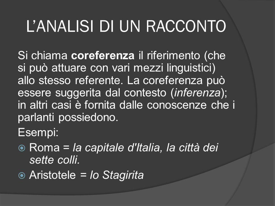LANALISI DI UN RACCONTO Si chiama coreferenza il riferimento (che si può attuare con vari mezzi linguistici) allo stesso referente. La coreferenza può