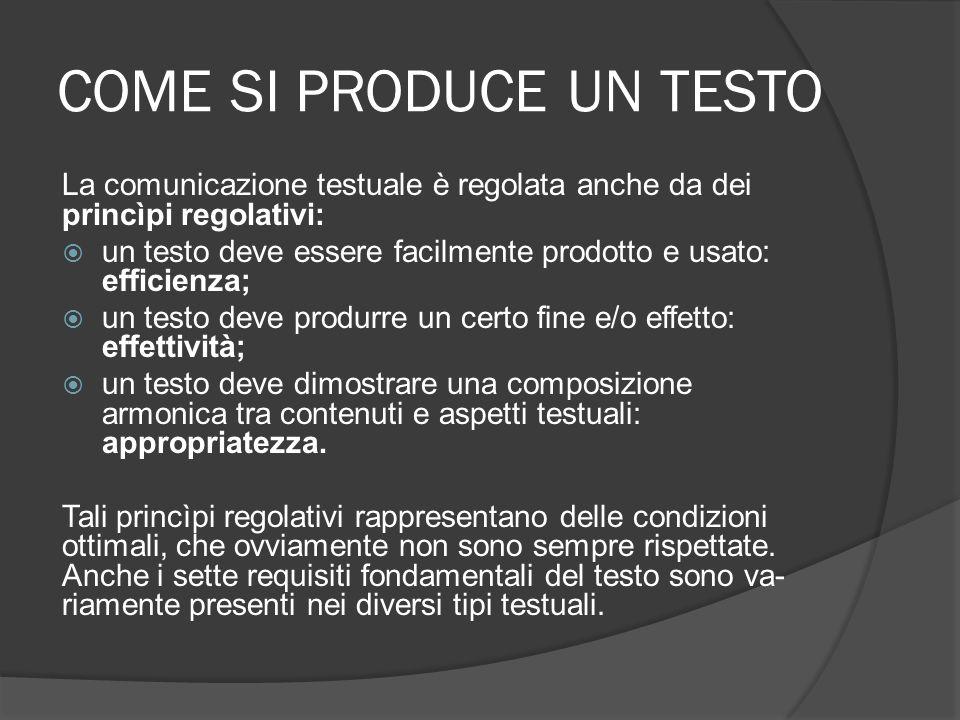 COME SI PRODUCE UN TESTO La comunicazione testuale è regolata anche da dei princìpi regolativi: un testo deve essere facilmente prodotto e usato: eff