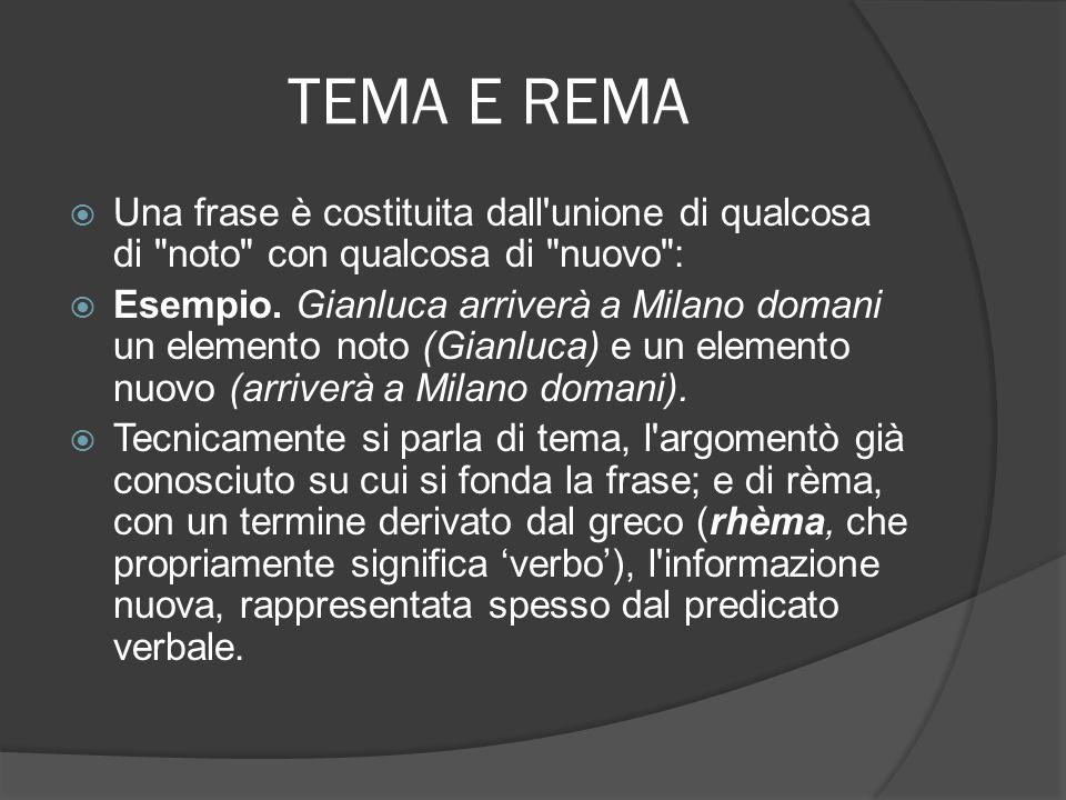 TEMA E REMA Una frase è costituita dall'unione di qualcosa di