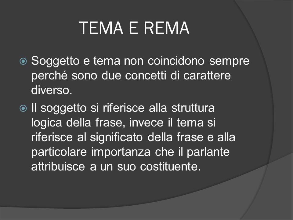 TEMA E REMA Soggetto e tema non coincidono sempre perché sono due concetti di carattere diverso. Il soggetto si riferisce alla struttura logica della