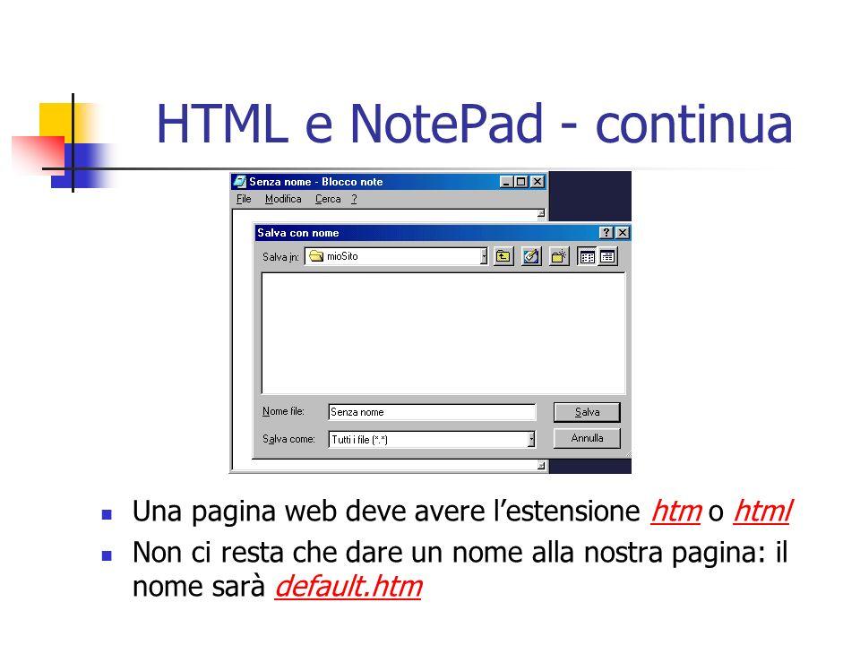 Una pagina web deve avere lestensione htm o html Non ci resta che dare un nome alla nostra pagina: il nome sarà default.htm
