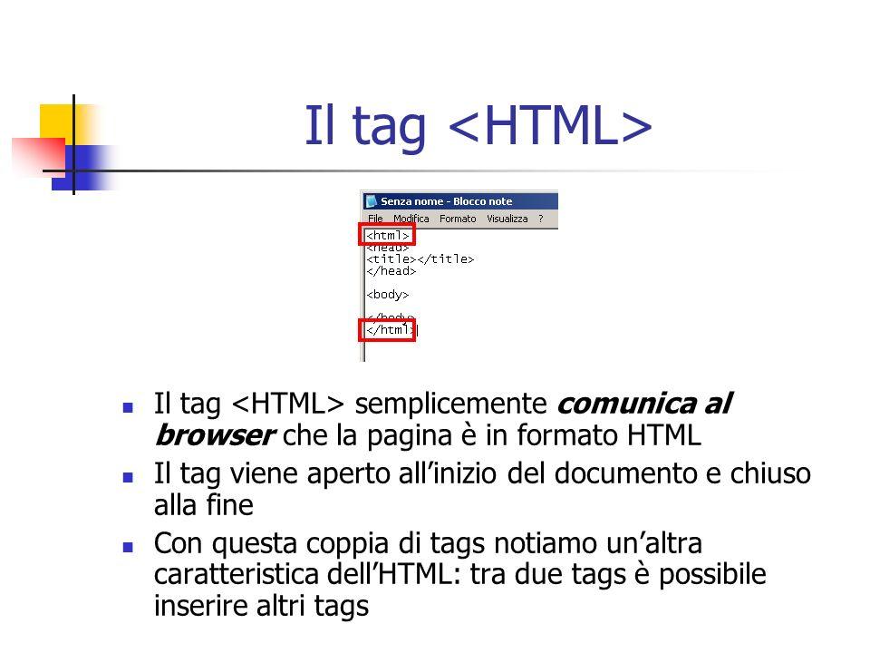 Il tag Il tag semplicemente comunica al browser che la pagina è in formato HTML Il tag viene aperto allinizio del documento e chiuso alla fine Con que
