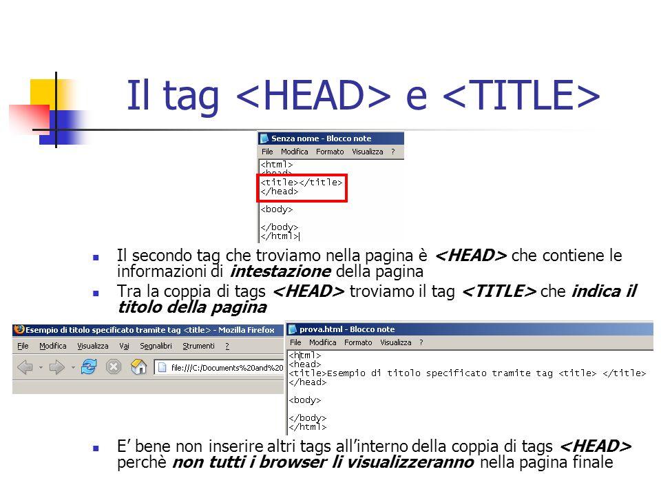 Il tag e Il secondo tag che troviamo nella pagina è che contiene le informazioni di intestazione della pagina Tra la coppia di tags troviamo il tag ch