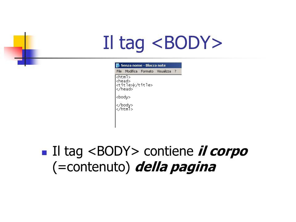 Il tag Il tag contiene il corpo (=contenuto) della pagina