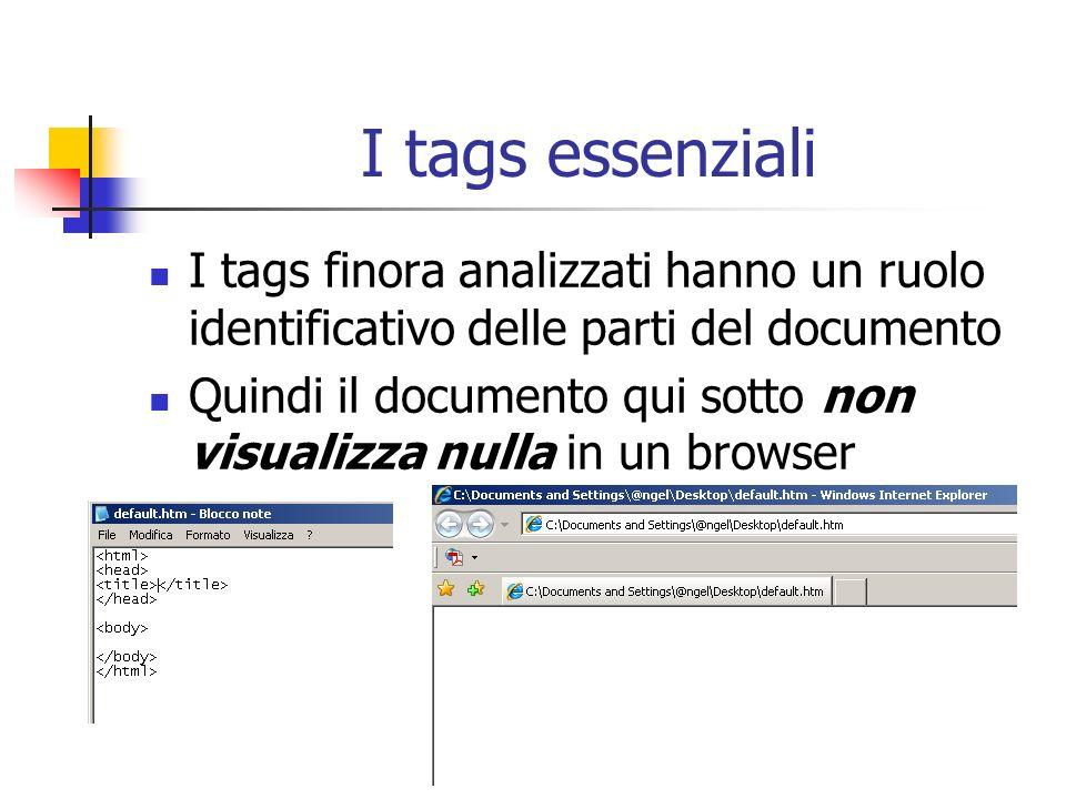 I tags essenziali I tags finora analizzati hanno un ruolo identificativo delle parti del documento Quindi il documento qui sotto non visualizza nulla