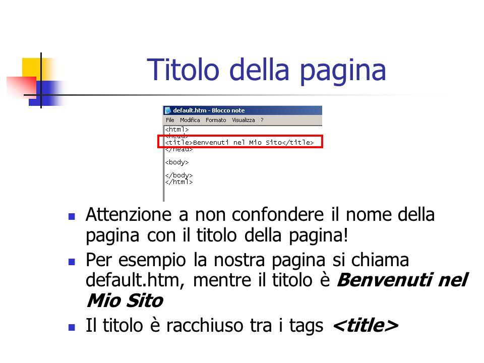 Titolo della pagina Attenzione a non confondere il nome della pagina con il titolo della pagina! Per esempio la nostra pagina si chiama default.htm, m
