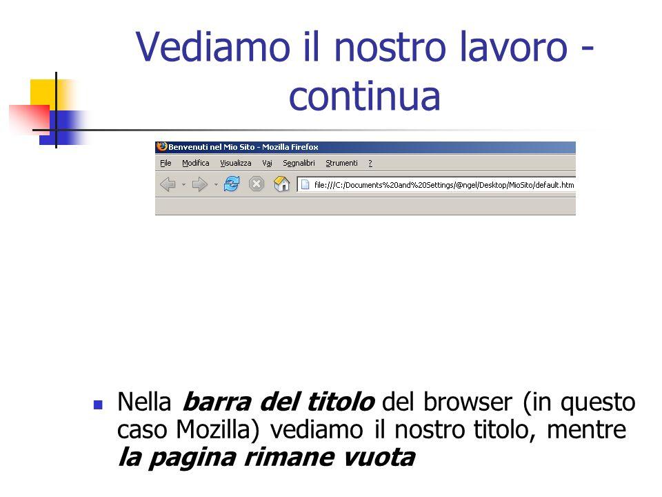 Vediamo il nostro lavoro - continua Nella barra del titolo del browser (in questo caso Mozilla) vediamo il nostro titolo, mentre la pagina rimane vuot