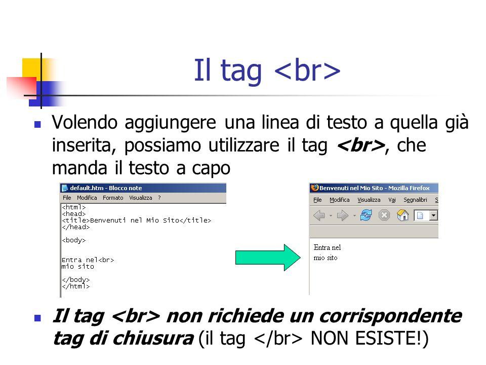 Il tag Volendo aggiungere una linea di testo a quella già inserita, possiamo utilizzare il tag, che manda il testo a capo Il tag non richiede un corri
