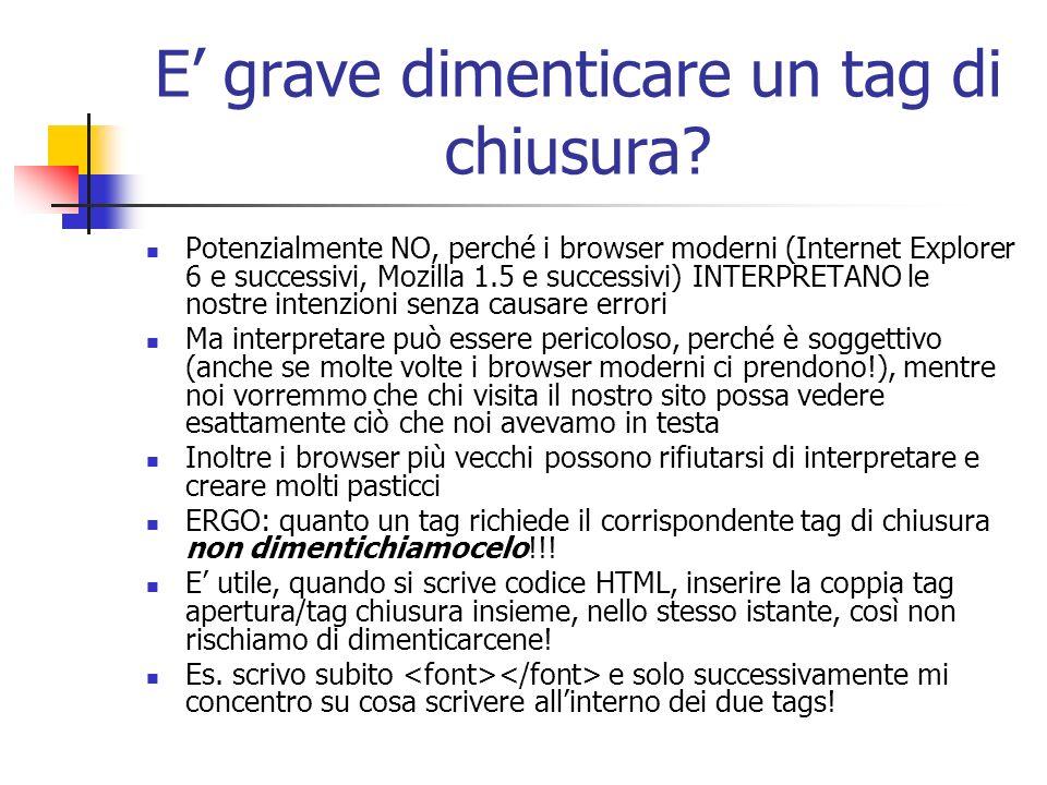 E grave dimenticare un tag di chiusura? Potenzialmente NO, perché i browser moderni (Internet Explorer 6 e successivi, Mozilla 1.5 e successivi) INTER