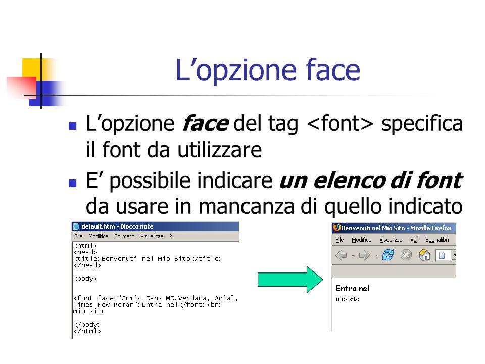Lopzione face Lopzione face del tag specifica il font da utilizzare E possibile indicare un elenco di font da usare in mancanza di quello indicato