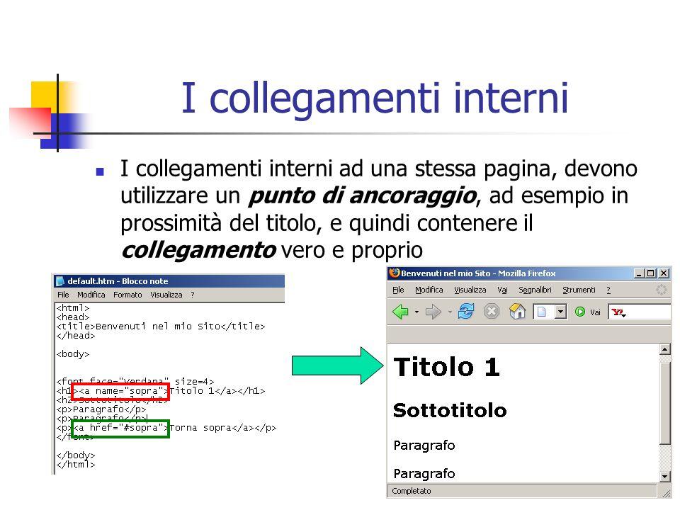 I collegamenti interni I collegamenti interni ad una stessa pagina, devono utilizzare un punto di ancoraggio, ad esempio in prossimità del titolo, e q