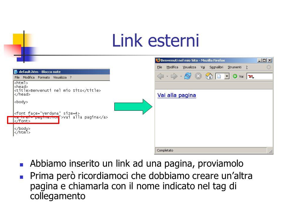 Link esterni Abbiamo inserito un link ad una pagina, proviamolo Prima però ricordiamoci che dobbiamo creare unaltra pagina e chiamarla con il nome ind