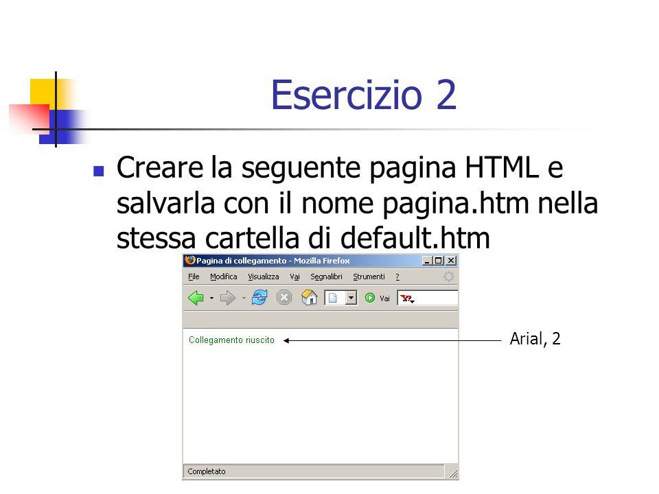 Esercizio 2 Creare la seguente pagina HTML e salvarla con il nome pagina.htm nella stessa cartella di default.htm Arial, 2