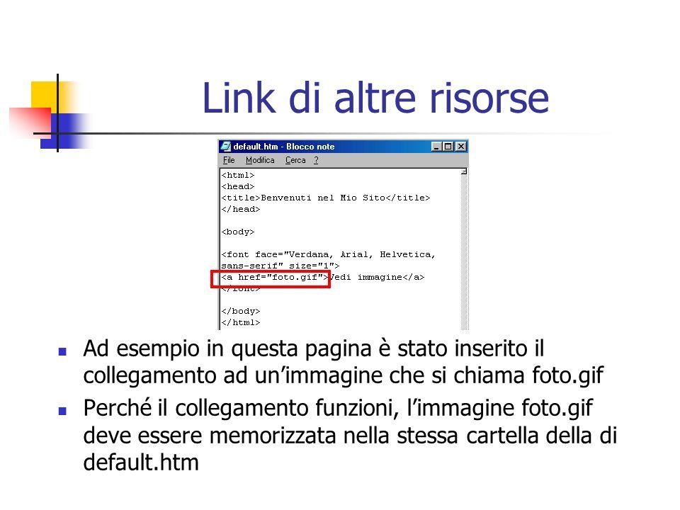 Link di altre risorse Ad esempio in questa pagina è stato inserito il collegamento ad unimmagine che si chiama foto.gif Perché il collegamento funzion