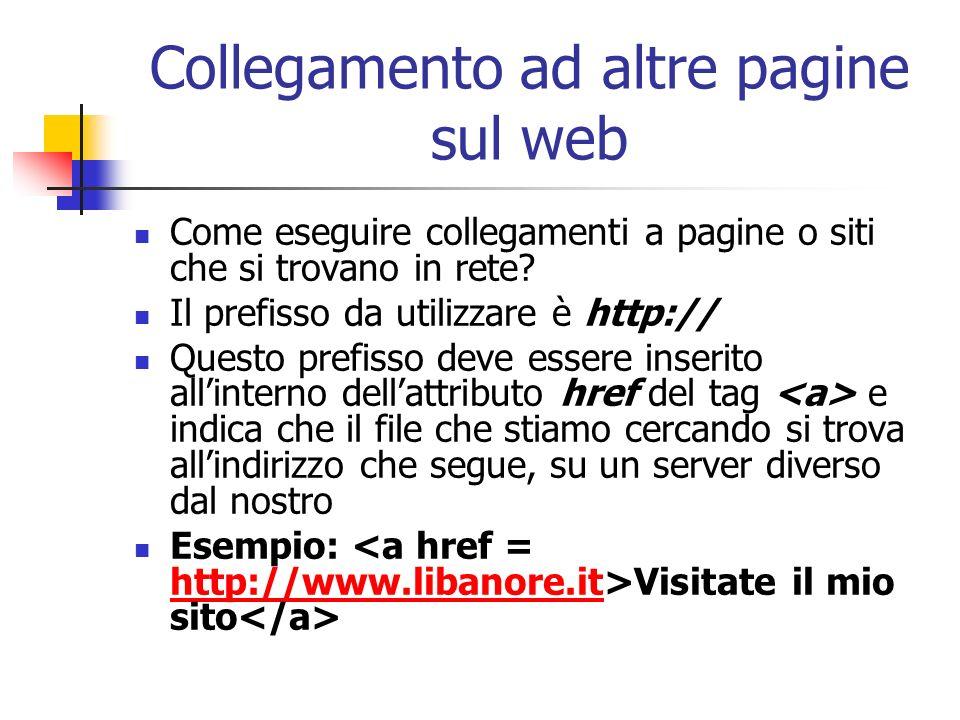 Collegamento ad altre pagine sul web Come eseguire collegamenti a pagine o siti che si trovano in rete? Il prefisso da utilizzare è http:// Questo pre