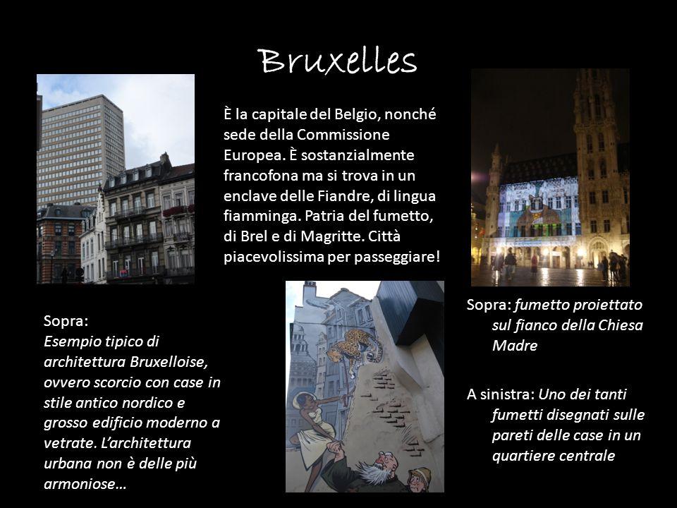 Bruxelles Sopra: fumetto proiettato sul fianco della Chiesa Madre A sinistra: Uno dei tanti fumetti disegnati sulle pareti delle case in un quartiere