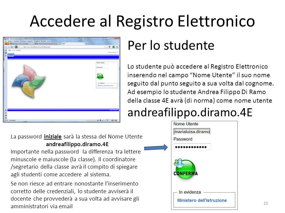 Accedere al Registro Elettronico 10 Per lo studente Lo studente può accedere al Registro Elettronico inserendo nel campo Nome Utente il suo nome segui